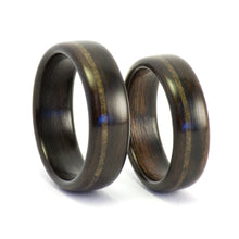 Load image into Gallery viewer, Ebony wood and meteorite rings by Ebeniste