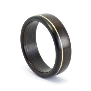 Ebony wood ring with a 14k gold inlay by Ebeniste