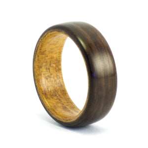 Ebony and kauri wood wedding band by Ebeniste