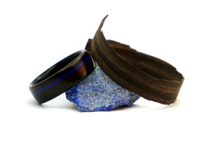 Ebony wood and lapis lazuli ring by Ebeniste