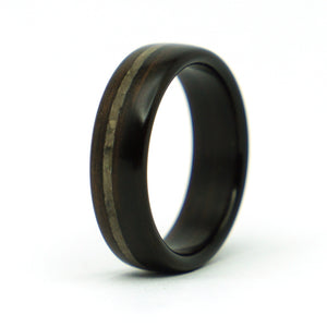 Ebony wood and lunar meteorite ring by Ebeniste