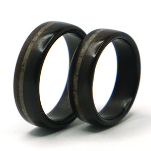 Ebony wood and lunar meteorite rings by Ebeniste