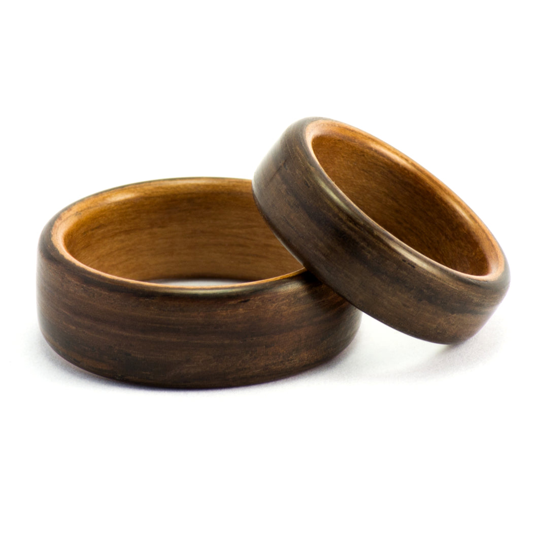 Ebony and pear wood wedding bands by Ebeniste