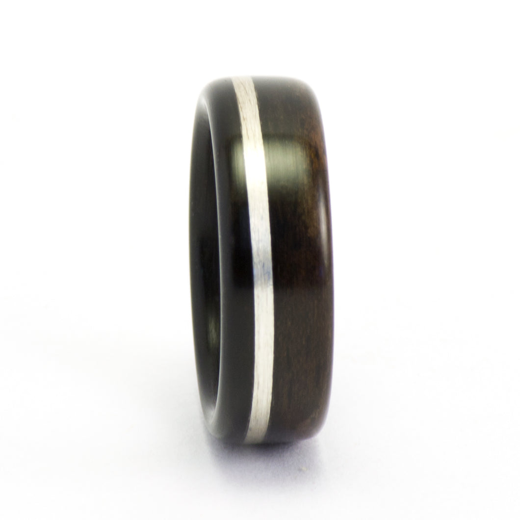 Ebony wood and sterling silver ring by Ebeniste