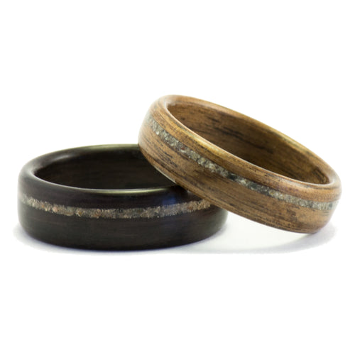 Ebony and walnut wood rings with concrete inlays by Ebeniste