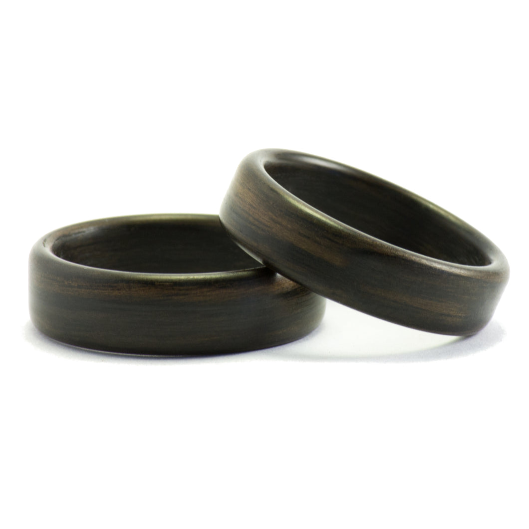 Ebony wood wedding bands by Ebeniste