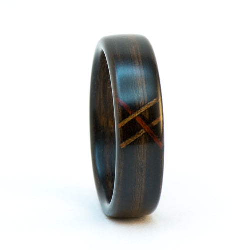 Ebony bentwood ring with a wood stitch pattern by Ebeniste