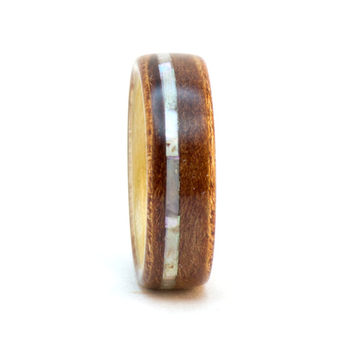 Madrone burl, ash, and mother of pearl wood ring by Ebeniste