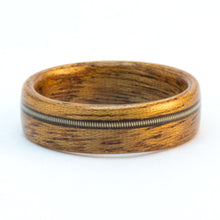Load image into Gallery viewer, Mahogany and guitar string wood ring by Ebeniste