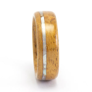 Size 8 Mahogany and Mother of Pearl Wood Wedding Ring