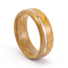 Load image into Gallery viewer, Size 8 Mahogany and Mother of Pearl Wood Wedding Ring