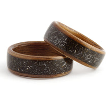 Load image into Gallery viewer, Iron and Stone Meteorite Wood Wedding Band Set | Ébéniste Wood Rings – Ebeniste Wood Rings