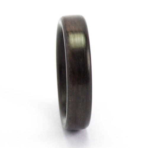 An ebony bentwood ring.