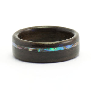 Bentwood rosewood ring with an abalone inlay by Ebeniste