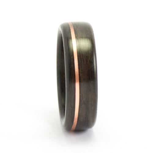 Rosewood and copper bentwood ring by Ebeniste