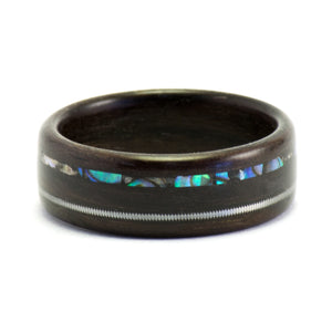 A rosewood, abalone, and guitar string bentwood ring by Ebeniste