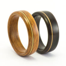 Load image into Gallery viewer, Wood rings with guitar string inlays by Ebeniste