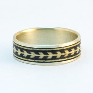 Size 9 Sterling Silver and Chevron Banding Wood Wedding Band