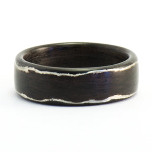 Rosewood and silver bentwood ring by Ebeniste