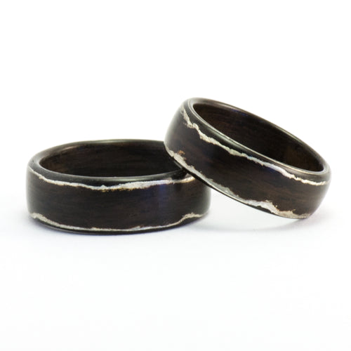 Rosewood and silver bentwood rings by Ebeniste