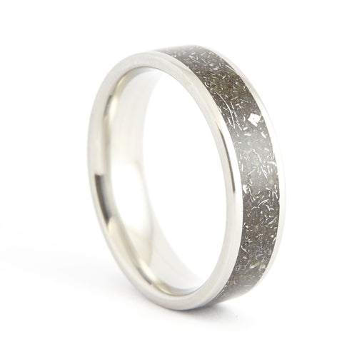 A stainless steel ring with an inlay of stone and iron meteorites.