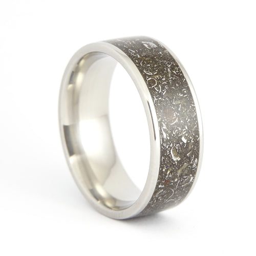 Wide Stainless Steel Stone and Iron Meteorite Ring
