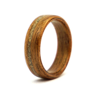 Walnut wood ring with Berlin Wall concrete by Ebeniste