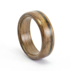Walnut wood and black opal ring by Ebeniste