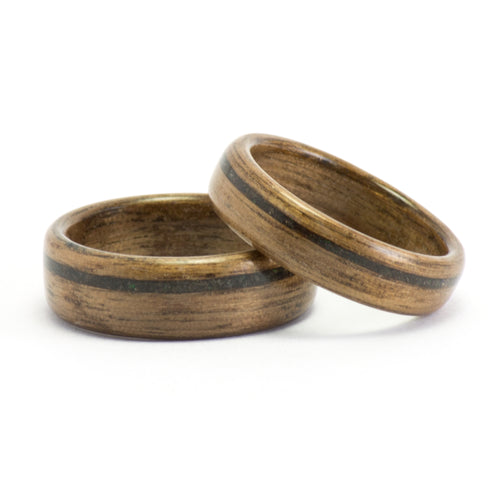 Walnut wood and black opal rings by Ebeniste
