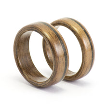 Load image into Gallery viewer, Walnut wood and black opal rings by Ebeniste