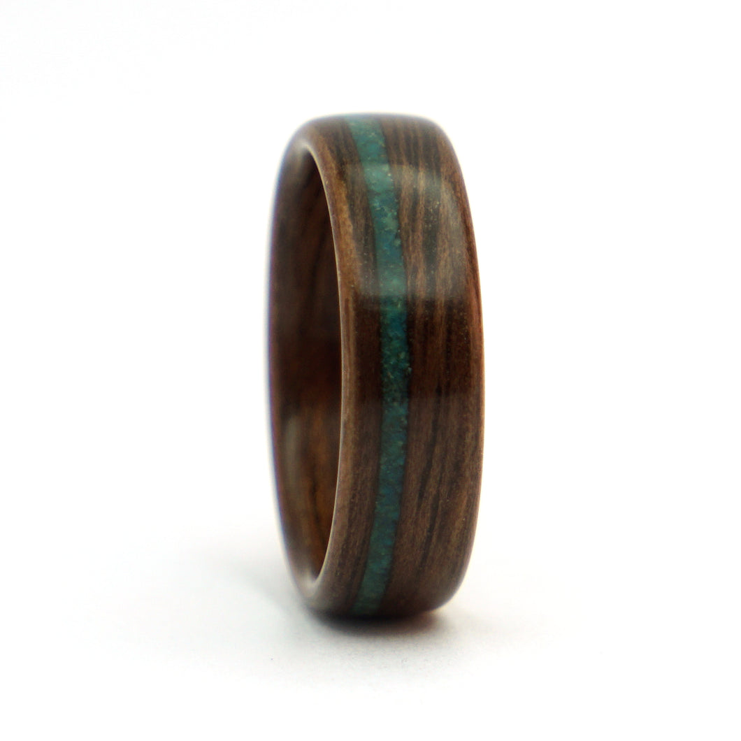 Walnut wood and blue opal ring by Ebeniste
