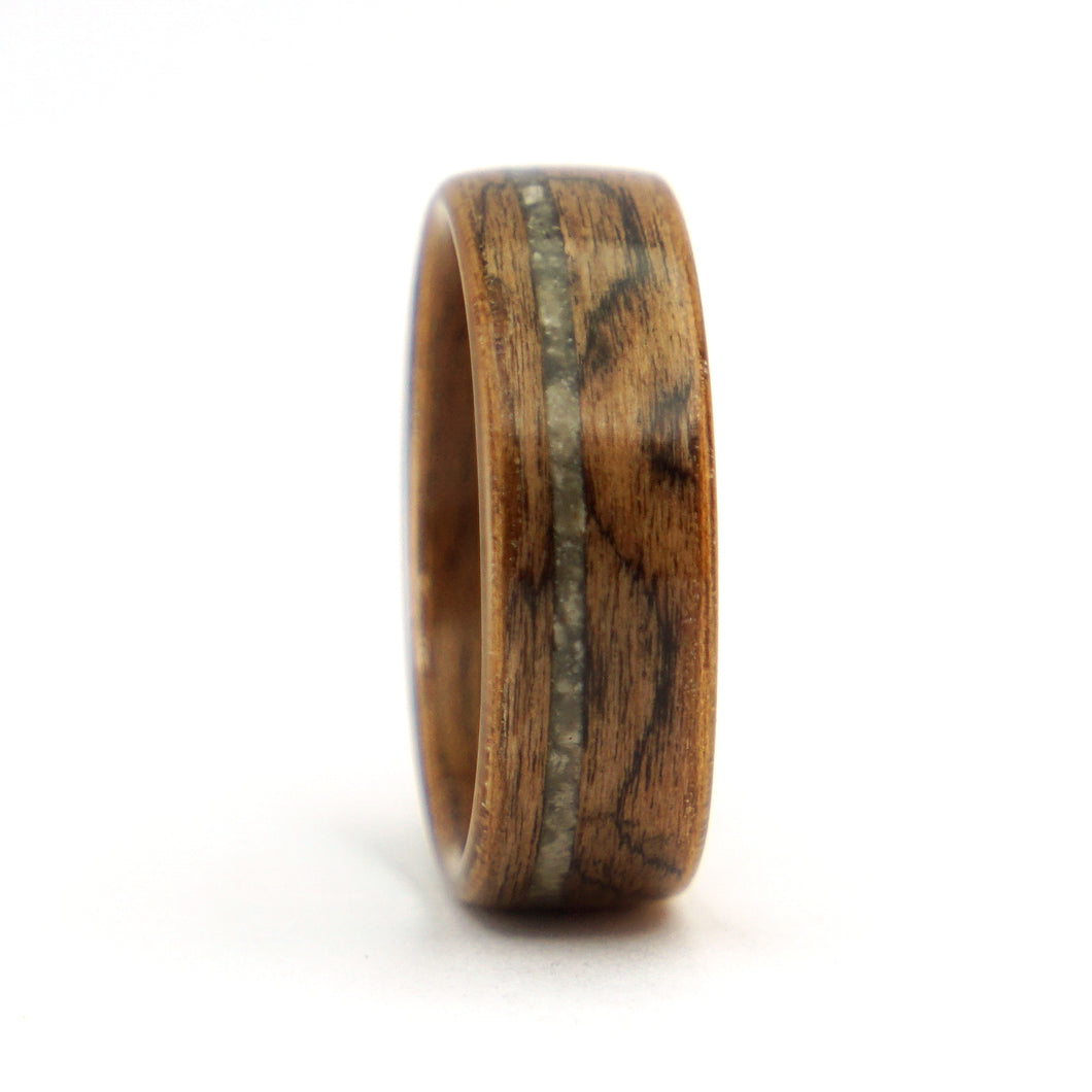 Walnut burl wood and lunar meteorite ring by Ebeniste