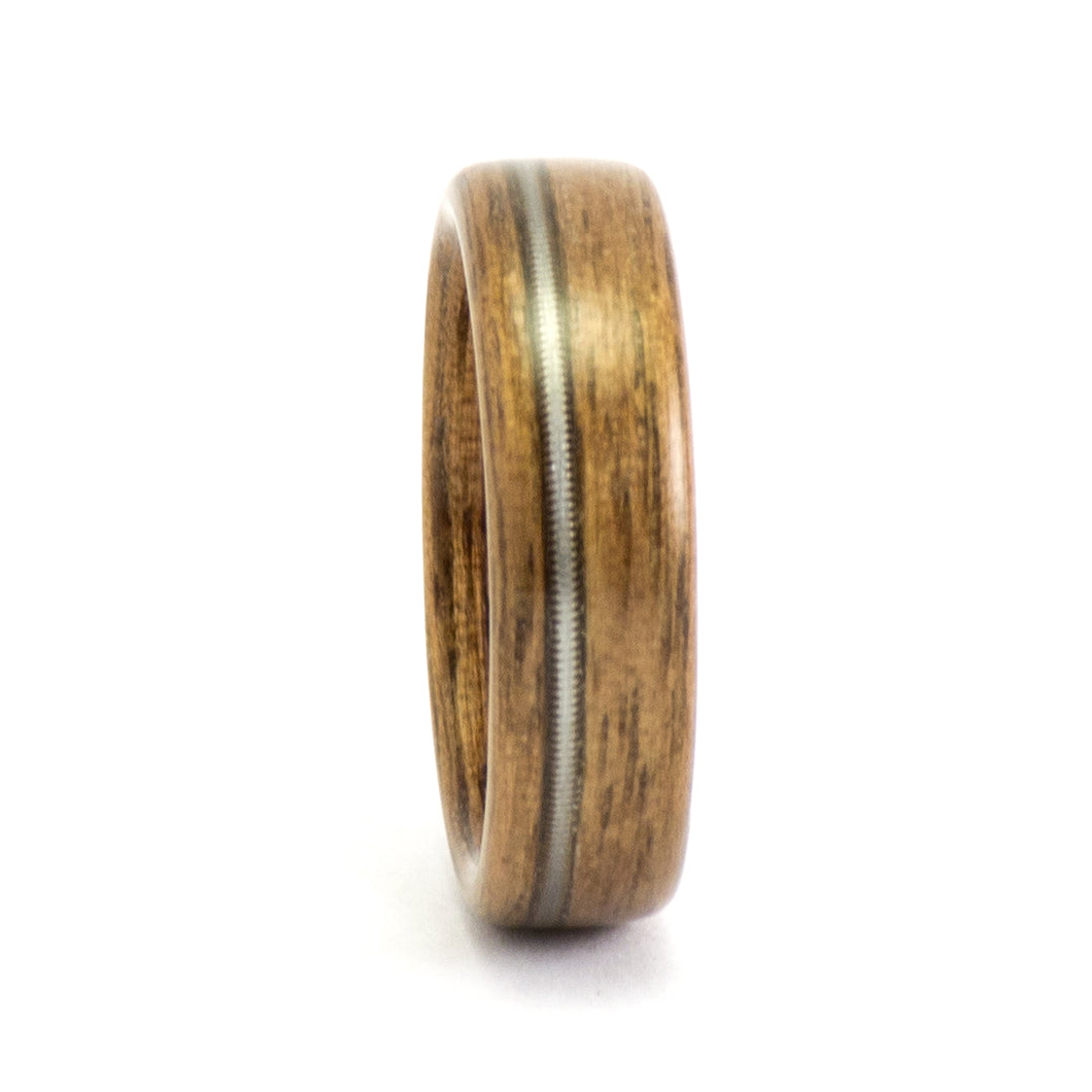 Walnut and guitar string wood ring by Ebeniste