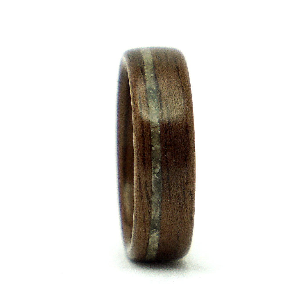 Walnut wood and lunar meteorite ring by Ebeniste