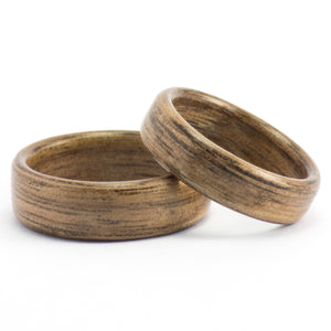 Walnut wood wedding bands by Ebeniste