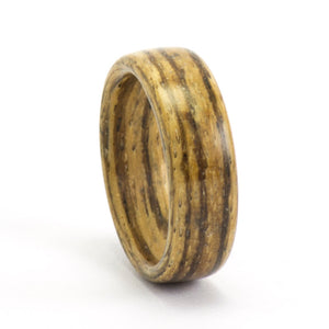 A zebrawood bentwood ring.