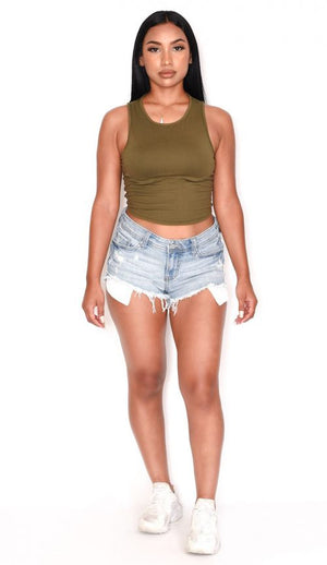 Olive Green Crop Tops