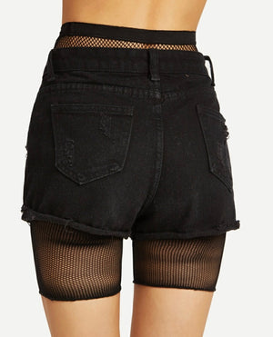 """Twerkout"" Fish net shorts"