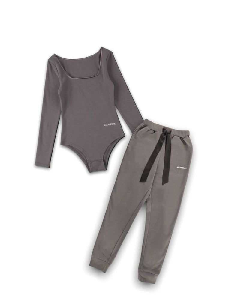 cotton wide knit pants / emerald