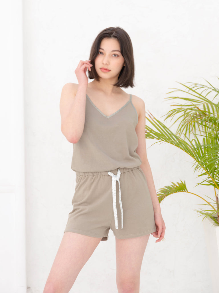 cotton rompers / olive