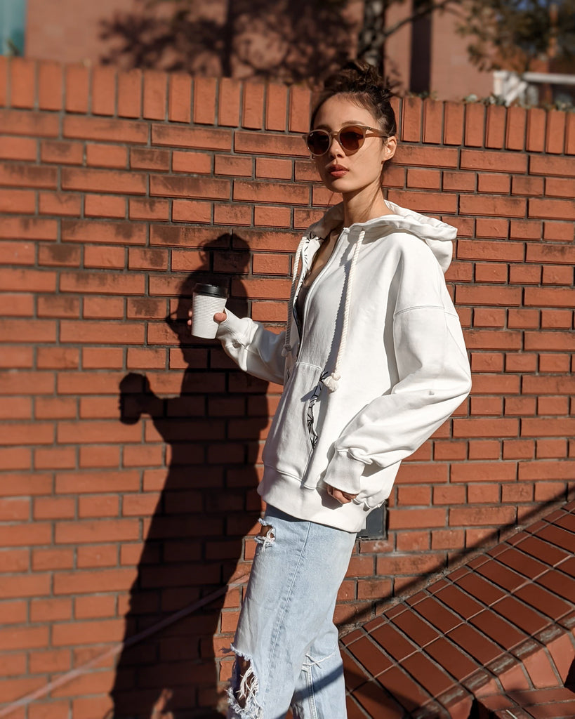 casual asanoha pocket hoodie / off-white