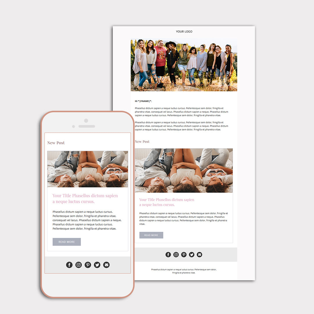 Mailchimp email template for bloggers