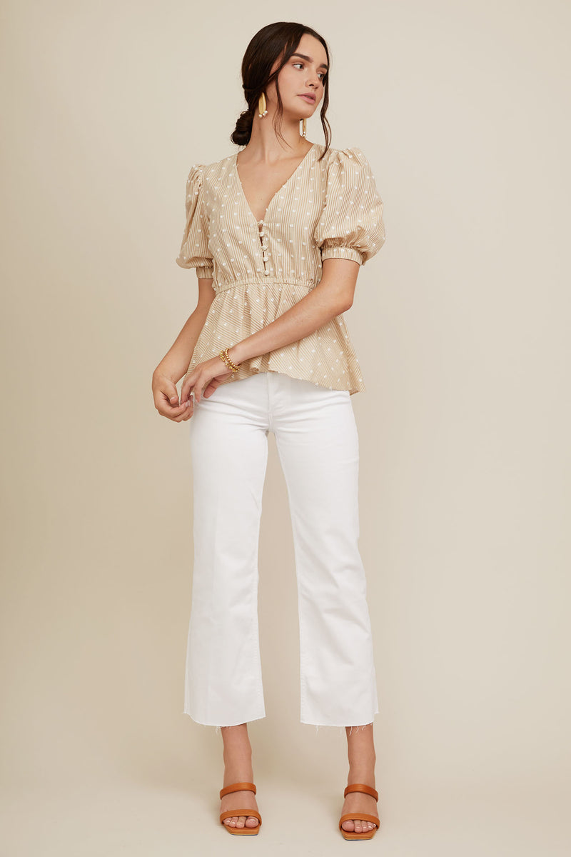 Grace Top - Khaki Dot