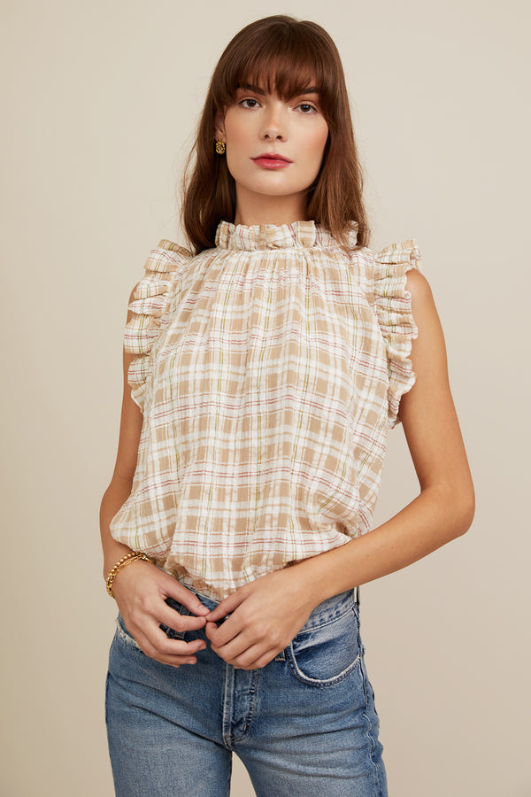 Aurelie Blouse - Khaki Plaid