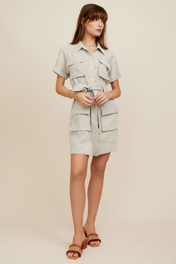 Catherine Dress - Chambray Stripe