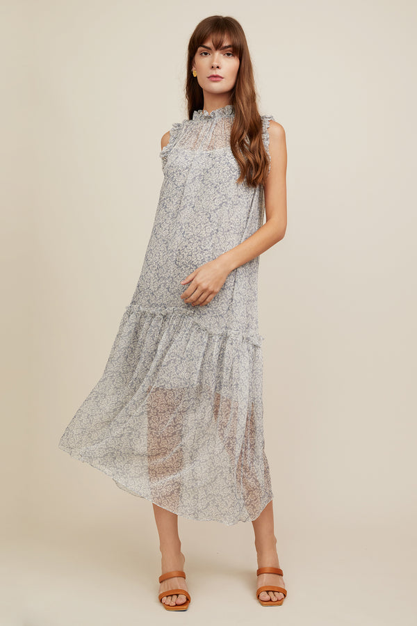 Gemma Dress - Grey Scroll