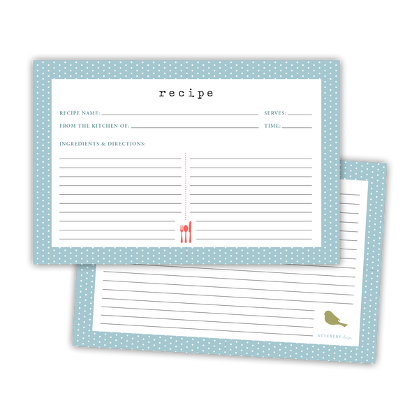 Polka Dot Recipe Cards (Blue)