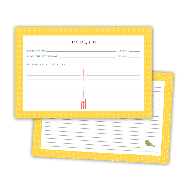 Polka Dot Recipe Cards (Yellow)