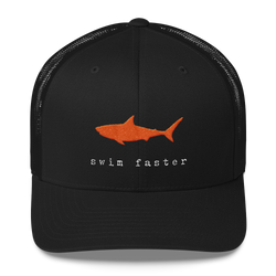Swim Faster Trucker Hat (Orange Shark)
