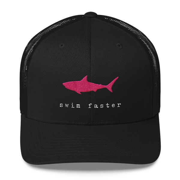 Swim Faster Trucker Hat (Pink Shark)